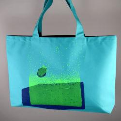 """Grand sac """"Tortue"""" bleu marine & vert fluo"""