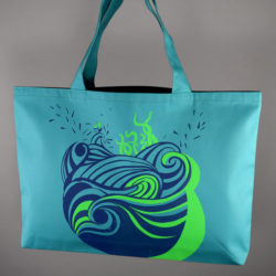 "Grand sac ""Aqua"" bleu marine & vert fluo"