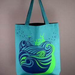 "Sac moyen ""Aqua"" bleu marine & vert fluo"