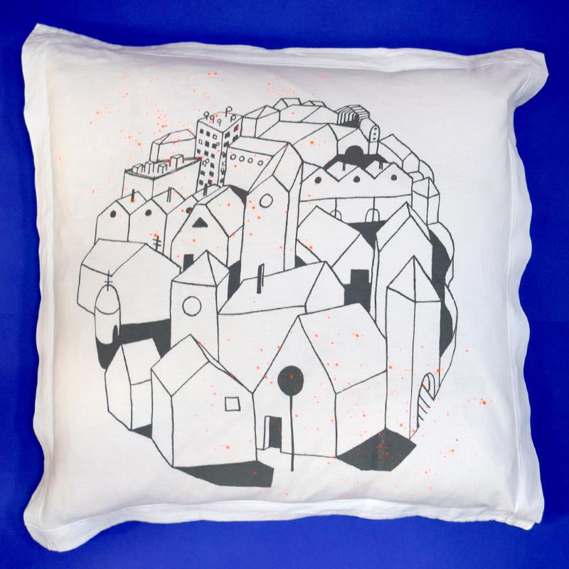 coussin_village fluo sérigraphie textile Alice Leblanc Laroche