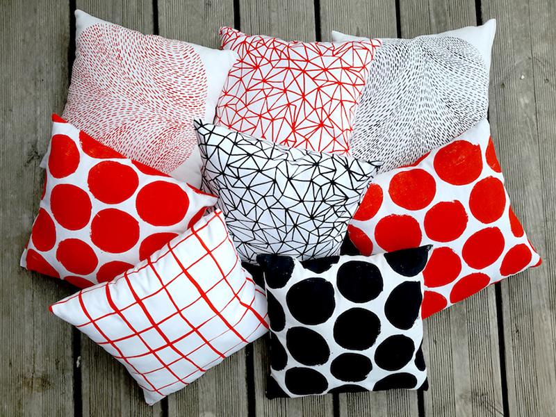 coussins geometriques sérigraphie textile Alice Leblanc Laroche