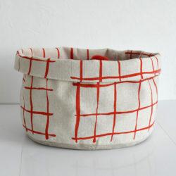"""Panier """"Carreaux rouge"""" en lin Grand modèle"""