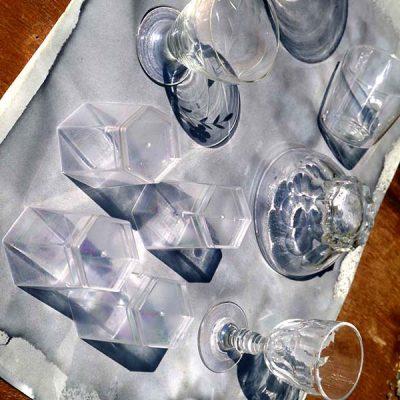 verres posés au soleil